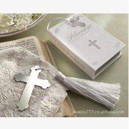 crosses party favors NZ - 20Pcs PASAYIONE European Style Cross Shaped Metal Bookmarks Wedding Favors Party Accessories Boxed Cross Baby Shower Souvenir