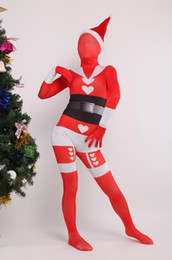 spandex full body suit skin NZ - DHL Christmas Red Santa Claus Mrs. Claus Full Body Spandex Lycra Zentai Catsuit Skin Suit Cosplay Costume