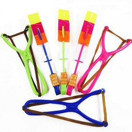Slingshot Helicopter Toy UK - 200pcs Free Shipping DHL 15cm Blue Light Amazing Slingshot Flying Toy Led Arrow Helicopter Copter ( Color Send By Random)
