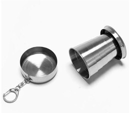 steel metal price UK - Best Price 100pcs lot Stainless Steel Cup Travel Camping Folding Collapsible Cup Traveling Cup