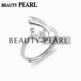 $enCountryForm.capitalKeyWord Canada - Jewellery Findings Zircon 925 Sterling Silver Ring Blanks with Pin Cup for Attaching Pearls 5 Pieces