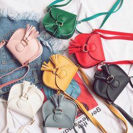 $enCountryForm.capitalKeyWord NZ - Low Price Wallets Children's Fashion Shoulder Bags Girls Tassel Design Messenger Bag Preschool girls leather Purse Baby Kids Cute bags CK125