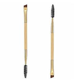 Hair fibres online shopping - Hot hothot Makeup Bamboo Handle Double Eyebrow Brush Eyebrow Comb Synthetic Fibre Hair at9