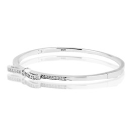 China Pandulaso Sparkling Bow Clear CZ Bangle Woman Bracelets sterling-silver-Jewelry For Women jewelry making gift for Lover supplier snake flowers suppliers
