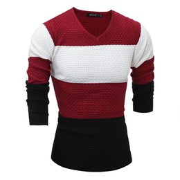 29bb5a4bf1dae Wholesale- 2016 New Arrival Hit Color Striped Patchwork Pullover Men V-Neck  Pull Homme Casual Knitted Cashmere Sweater Shirts