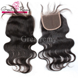 """natural hair hairpieces 2019 - 100% Brazilian Unprocessed Virgin Human Hair 8""""-26"""" Natural Color Body Wave Retail 1 piece Top Closure 4*4&quo"""