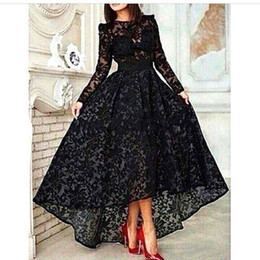 high low dresses black sheer NZ - Top Selling High Low Lace Black Robe De Soiree 2017 Long Sleeves O-neck Evening Dresses Custom Made Party Prom Gowns