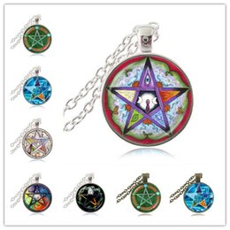 Star Jewellery Canada - Five Elements Pentagram Necklace Pentacle Pagan Triple Moon Goddess Pendant Five Pointed Star Astrology Jewelry Witch Gothic Jewellery Gifts