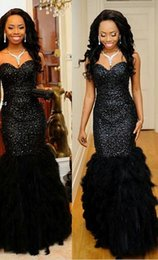 Barato Penas Elegantes Vestidos-Robe longue soiree Nobre Preto Feather Vestidos de Noiva Luxo Sequin Bling Formal Vestidos Corset Mermaid Longo Prom Dress