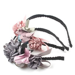 Hair Kids Wholesale NZ - Fashion Vintage 3D Flower Children Hair Clasp Korean Floral Hair Accessories Kids Sticks Sweet Flower Girl Hairband Handmade Hairband B471