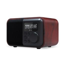 Luxury Speakers UK - Luxury Wooden Bluetooth Speaker iBox D90 with handsfree Mic FM Radio Alarm Clock TF Card USB Player retro Wood box bamboo Wireless Subwoofer