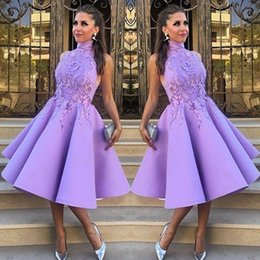 $enCountryForm.capitalKeyWord NZ - Stylish High Neck Prom Dresses Sexy A-Line Tea-Length Fashion Party Dress With Applique 2017 Lovely Short Evening Gowns Homecoming Dresses