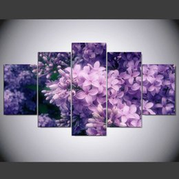 purple flower canvas paintings 2019 - 5 Panel New Modern Purple Flower Painting Picture Cuadros Decoracion Canvas Art Wall Decor For Living Room IM-277 cheap