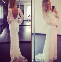 $enCountryForm.capitalKeyWord Australia - Sexy Romantic 2020 Sheer Neck Mermaid Lace Wedding Dress Sweep Train Open Back Wedding Dresses With Long Sleeve Custom Made