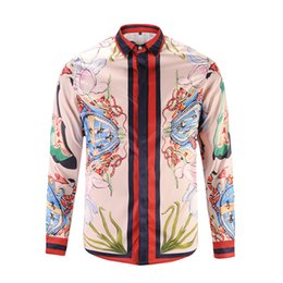 China 2017 stylish Design 3D snake Embroidery Floral Print Mixture Colour luxury harajuku mens long sleeved shirts M-3XL medusa casual shirt cheap mens patchwork plaid shirts suppliers