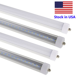 Pc w online shopping - 8 Foot LED Bulb Light T8 ft LED Single Pin FA8 V Shaped SMD2835 LM W LED Fluorescent Tube Lamp Stock In US