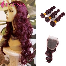 Wholesale Burgundy Human Virgin Hair Weave Bundles Grade A Wine Red J Peruvian Virgin Remy Human Hair Loose Wave Queen Hair Products