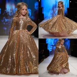 Barato Vestido Tamanho 12 Crianças-2018 New Jewel Neck Sparkly Gold Sequined Little Flower Girl Vestidos manga comprida Kids Formal Wear Girls Dress Up Size 12 para adolescentes