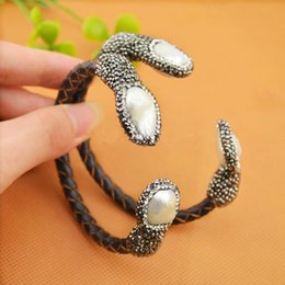 Wholesale Druzy Bracelet Canada - 4Pcs Natural Freshwater Pearl Bangle Bracelet, With Crystal Zircon Leather Cord Bracelets, Druzy Jewelry Bangle