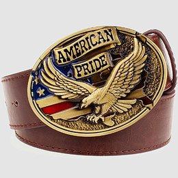 Discount eagles belt buckle - Wholesale- Personality men's leather belt bald eagle American pride male leather buckle metal belt flying eagle cas