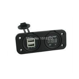 $enCountryForm.capitalKeyWord UK - Wholesale- Free Shipping New DIY 12~24V WaterProof Motorcycle Car Charger Voltmeter 2-Port USB Power Socket Outlet Plug