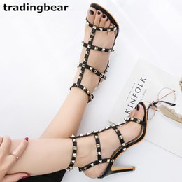stylish lady shoes heel 2019 - Fashion Ladies High Heels Rome Stylish T strappy Rivets Studded Shoes Women Pumps Size 34 to 39