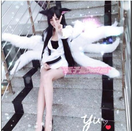 Xl Fox Halloween Costume Pas Cher-2016 Lol Cosplay Costumes Sexy Fox LOL Ahri Queue Dynastie Ahri Nine Queue Adultes Femmes Anime Halloween Carnaval Cosplay Costumes