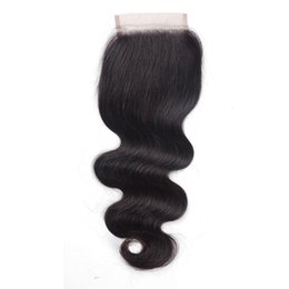 Brown Human Hair Deep Wave Closures UK - Brazilian Human Hair Closure 4*4 water wave peruvian hair deep wave body wave straight bleached knots free part swiss lace closure G-EASY