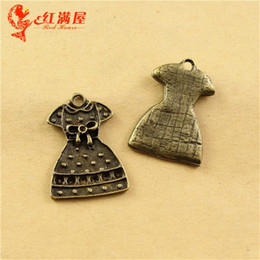 $enCountryForm.capitalKeyWord NZ - 23*16MM Zinc alloy metal pendant retro dress charm South Korea jewelry, fashion necklace charm for bracelet, vintage brass charm