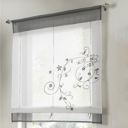 2018 Short Kitchen Window Curtains Kitchen Short Curtains Embroidery Roman  Blinds White Sheer Panel Window Treatment