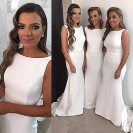 elegant fitted wedding dresses Australia - Elegant Mermaid Long Bridesmaid Dresses Ivory Bateau Neckline Sleeveless Fitted Maid of Honor Gowns Wedding Guest Formal Dress with Train