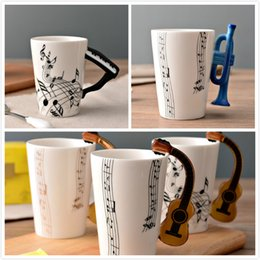 $enCountryForm.capitalKeyWord Canada - Guitar Ceramic Cup Creative Music note Print Flute Piano Coffee Mugs Home Office Drinkware 14 Types 300ml Personality Milk Juice Mug