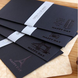 Discount korean wedding invitation cards 2018 korean wholesale wholesale 5pcs bag new retro black gilding envelope for card scrapbooking gift wedding letter invitations korean stationery papelaria discount korean stopboris Choice Image