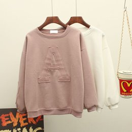 Barato Hoodies Novos Do Outono Para Senhoras-Atacado - 2016 Outono Mulheres Moda Hoodies estilo coreano New Arrival Bat Wing Sleeve Loose Fleece Branco / Rosa / Kakhi / Grey Ladies Hoodies