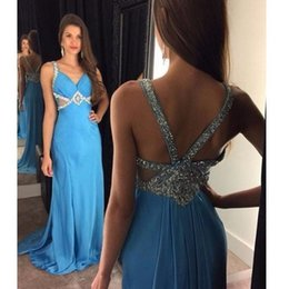 Robe De Bal Pas Cher-Blue V-Neck Sexy Junior Robe de bal Sparkle Beaded Sequins Cutaway Sides Sleeveless Fashion Party Dress 2017 Cheap Chiffon Long Evening Gowns