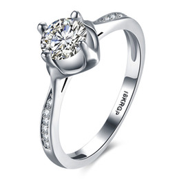 18krgp gold Australia - 2017 New US GIA certificate 18KRGP White Gold Plated Ring for Women Girl Full Cubic Zirconia Rings