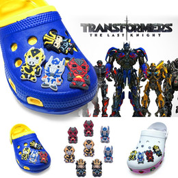 $enCountryForm.capitalKeyWord NZ - 8Pcs lot Transformers PVC Cartoon Shoe Charms Ornaments Buckles Fit for Shoes & Bracelets ,Charm Decoration,Shoe Accessories Party Gift