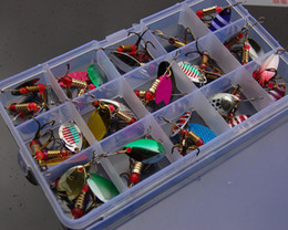 Bait Boxes Wholesale NZ - 30pcs of Spinner Metal Spoon Fishing Lure Hard Artificial Fishing Jigging Baits Accessories Pesca Hooks with the box