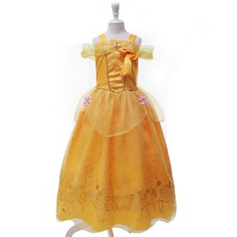 Costumes De Fête Jaune Pas Cher-Fashion halloween cosplay costume kids princess belle costume Beauty and the Beast party robe jaune pour filles enfants livraison gratuite