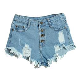 cdca64b8b5 Al por mayor-Verano Pantalones cortos de cintura alta Irregular de las  mujeres atractivas Moda Slim Fit Denim Jeans Shorts S3