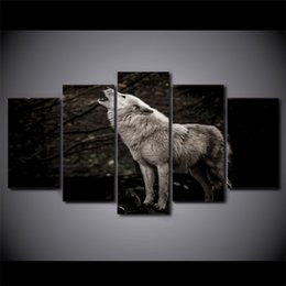 floral wall art canvas black NZ - 5 Piece HD Printed Black And White Couple Wolf Animal Wall Picture Framed Canvas Painting For Bedroom Wall Poster Art