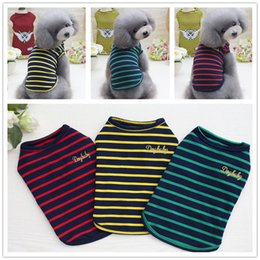 summer costumes for dogs 2019 - 3 Colors Summer Dog Stripe Vest Leisure Cotton T-Shirt for Small Medium Pets Dogs Free Shipping discount summer costumes
