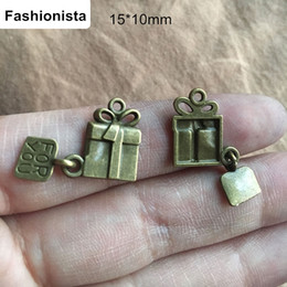 Antique Zippers Canada - 100 pcs Gift Box Charms,Antique Bronze Gift Charms with Dangle Tag For You,15*10mm,Perfect for pendants,earrings,zipper pulls