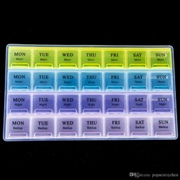 Storage Tablet Canada - 4 Row 28 Squares Weekly 7 Days Tablet Pill Box Holder Medicine Storage Organizer Container Case free shipping