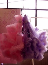 Barato Luz Rosa Ruffle Linha-Light Purple and Pink Girl's Pageant Vestidos Puffy Tulle Ruffles Cristais Princess Girl's Pageant Dress 2017 Cheap Flower Girl Dress