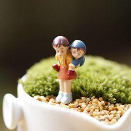Cute Resins Figures Canada - Cute Cartoon Action Figure Ornaments Micro Landscape Garden Bonsai Grass Decorative Natural Resin Colors For Home Decorations