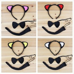 Ensemble De Queue D'oreille De Chat Pas Cher-2017 Nouveau chat mignon Animal Ear Headband Bow Tie Tail 3pcs Set Cosplay Accessoires pour cheveux Halloween Birthday Party Favors Gift