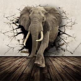 Großhandel Hochwertige Flash-Tuch Tapete / Tier Wohnzimmer TV Hintergrund Kinderzimmer Rhino / Lion / Elephant Wandbild Tapete