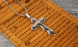 $enCountryForm.capitalKeyWord Canada - 2018 Fashion Hot Creative Three Colors Jesus Cross Christian Titanium Necklace With Bead Link Chain Necklace XCC06