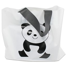 $enCountryForm.capitalKeyWord Canada - Wholesale 25pcs Lot Printing Panda Carton White Shopping Plastic Bag With Handle For Cloth Gift Fashion Pouch